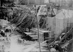 1928 Dinard chantier du casino-balnéum, travaux de béton armé