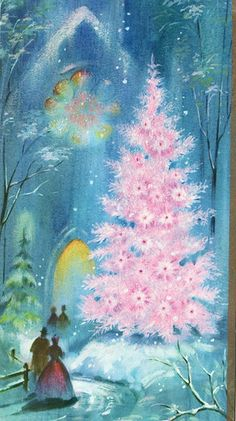 Vintage Christmas Card with Pink Christmas Tree.......