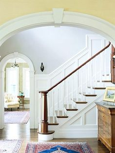 Eat. Sleep. Decorate.: Adding Character to your home {Molding} Great idea for those awful, beat up, dirty stairway walls