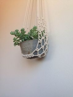 Macrame plant cradle with ceramic bowl. by FaireUnNoeud on Etsy, $70.00