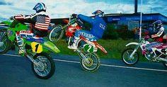 1990 Jeff Ward Kawasaki KX 500, Jeff Stanton Honda CR 250, Damon Bradshaw Yamaha YZ 125 #motocross - mpfrey75