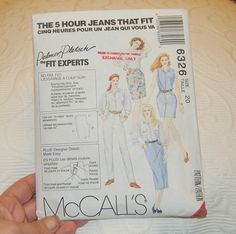 McCall's 5 Hour Jeans Pattern Sz 20 6326