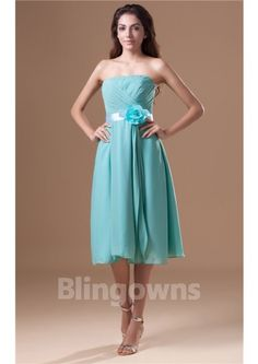 Strapless Blue Flower Full Back Knee Length Zipper A-line Chiffon Sleeveless Ruched Bridesmaid Dresses