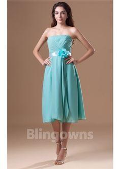 036fb17a069fa Strapless Blue Flower Full Back Knee Length Zipper A-line Chiffon  Sleeveless Ruched Bridesmaid Dresses
