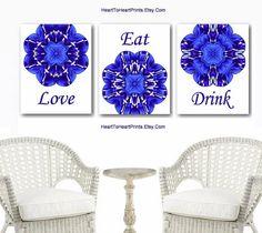 Royal Blue Kitchen Wall Art Set of 3 Prints Blue Kitchen | Etsy Navy Home Decor, Blue Wall Decor, Wall Art Decor, Wall Art Prints, Dining Room Blue, Dining Room Wall Decor, Kitchen Wall Art, Kitchen Dining, Cobalt Blue Kitchens