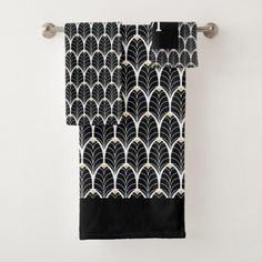 1920s Art Deco Black & White Leaves Bath Towel Set - black and white gifts unique special b&w style