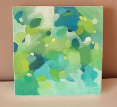 "Original Blue, Green Abstract Painting ""Ocean"" 8"" by 8""."