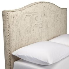 Beds/Headboards - Script Nailhead Upholstered Headboard,Full/Queen -TARGET - camelback headboard, camelback headboard with nailhead trim, french script headboard,