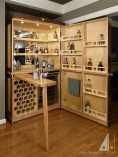 custom made custom walnut and birdseye maple liquor cabinet bar