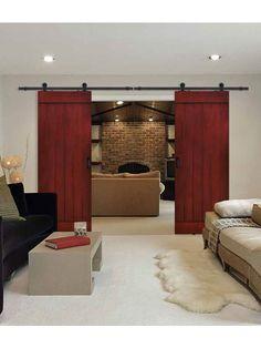 """Plank Barn Door 8' 0"""" Tall - Knotty Alder Double Door"""