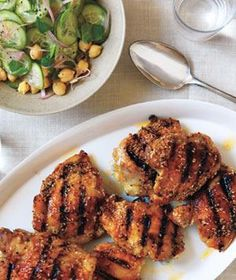 Spiced Chicken With Chickpea and Cucumber Salad recipe from realsimple.com #myplate #protein #vegetables