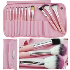 12 piece Makeup Brush Set in Kawaii Pink | eBay $14.99 | So cute, with the pink-tipped bristles!