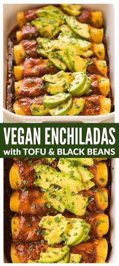 Easy Vegan Enchiladas with tofu spinach and black bean filling topped with a rich and flavorful red enchilada sauce and avocado This recipe is THE BEST Healthy packed wit. Tofu Recipes, Vegan Dinner Recipes, Mexican Food Recipes, Whole Food Recipes, Vegetarian Recipes, Cooking Recipes, Healthy Recipes, Diet Recipes, Recipes With Tofu Easy