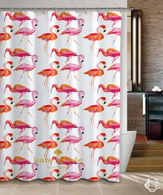 New Hot Kate Spade New Pink Flamingo Pattern Pink Shower Curtain