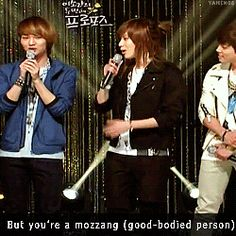 Taemin (SHINee) being funny!  A little creepy, (molesting Onew), but funny.  (.gif set).