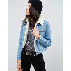 ASOS Denim Cropped Jacket in Blue with Borg (3,070 MKD) ❤ liked on Polyvore featuring outerwear, jackets, blue, blue jackets, blue jean jacket, asos, cropped denim jacket and pocket jacket