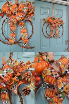 **FREE SHIPPING** Turn heads with this perfect Pumpkin Grapevine Wreath/ Door Hanger! Built on a grapevine form in the shape of a pumpkin, fall decor accents were added next to provide both dimension and texture to the wreath. The beautiful orange, gold, and yellow colors are exactly right for the season. Accents include berries, a pumpkin, leaves, and ornamental stems. The wreath is finished with a stunning designer bow featuring black and white buffalo plaid, pumpkins, and sunflowers.