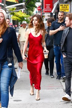 June 3: Selena Gomez out in New York City, NY Love the red slip dress