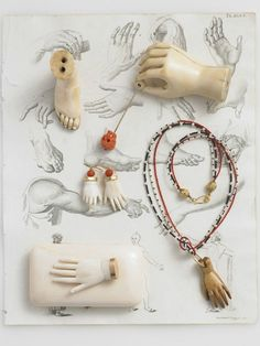 "anita calero's still life photographies illustrate two books for the exquisite two-level cabinet of curiosities on Crosby Street ""de vera objects"" and ""de vera jewelry"". Mains Couple, Illustration Main, Collar Hippie, Show Of Hands, Doll Parts, Still Life Photography, Object Photography, Photo Jewelry, Hand Jewelry"