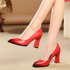 High Fashion Designer Brands 2015 New Women Chunky Heel Autumn Pointed Toe Single Work Womens Shoes Heels With Thick Soles