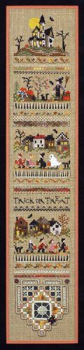 """""""Trick or Treat Sampler"""" is the title of the delightful and spooky cross stitch pattern from Victoria Sampler. I just love the little band ..."""