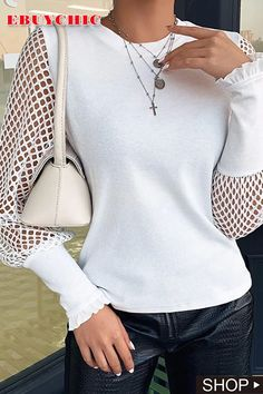 This white blouse features fishnet sleeve and frill hem. This slim blouse is for office, date, casual life and other occasion. Stylish Outfits, Cute Outfits, Fashion Outfits, Womens Fashion, Style Fashion, Latest Fashion, Blouses For Women, Women's Blouses, Blouse Online