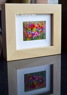 Handmade miniature colourful flower meadow wet felt & embroidery framed picture