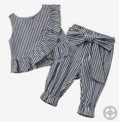 Fashion girls striped ruff sleeveless shirt + pants - 2018 Fashion Baby Girl Clothes Set Girl& Striped Ruff Cotton Summer Sleeveless Shirt + P - Baby Girl Fashion, Fashion Kids, Fashion Clothes, Trendy Fashion, Fashion 2018, Fashion Shirts, Style Clothes, Dress Clothes, Toddler Fashion