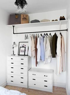 diy home decor - Creative But Simple Clothing Rack Design Ideas Diy Bedroom Decor, Diy Home Decor, Bedroom Ideas, Bedroom Designs, Wall Decor, Bedroom Cabinets, Rack Design, Closet Designs, Closet Organization