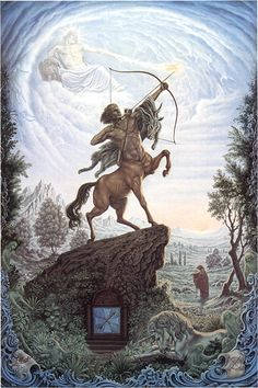 Saggitarius - greek mythology says the reason the arrow is always pointed up is because it is pointed at the scorpio's heart. pretty badass