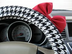 Black and White Houndstooth Steering Wheel Cover with Matching Bright Red Bow on Etsy, $25.00