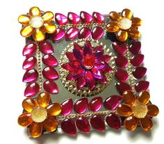 Designer Mirror Modular Kundan Rangoli - in Hot Pink and Golden