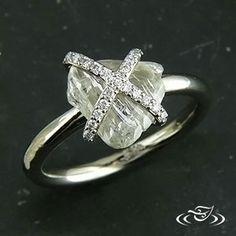 unique rough diamond engagement ring Custom 14kt warm white gold mounting to hold a GLJW provided uncut rough 1.95ct diamond in 'X' shaped w...