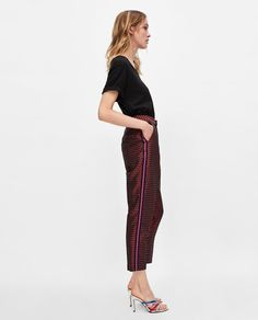 Image 3 of JACQUARD TROUSERS WITH SIDE STRIPES from Zara