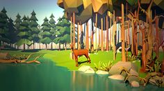 Low Poly Terrain Scene w/ Animal & Water
