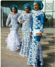 Step up your game with these eye-popping and uber-classy Aso-Ebi styles - Wedding Digest Naija Nigerian Lace Styles, African Lace Styles, African Lace Dresses, African Fashion Dresses, Ghanaian Fashion, African Clothes, African Style, African Attire, African Wear
