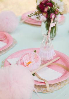 ballerina birthday party place settings - love the lace embellished bottles!