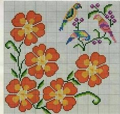 Resultado de imagen para flores en punto de cruz