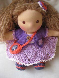 Waldorf dolls Clothes set of 5  lavender lace dress by tatocka, $46.00