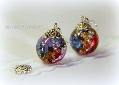 Earrings resin gold flakes silver flakes and by RALIJEWELLERY