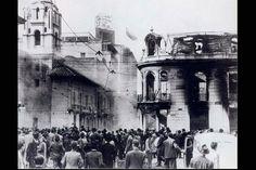 Hotel Regina en llamas y ruinas el 9 de Abril de 1948 durante el Bogotazo.