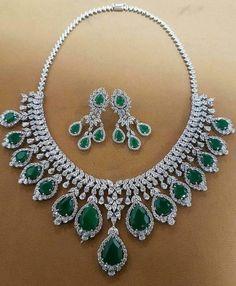 Diamond Necklaces : Emerald & Diamonds Necklace Set - Buy Me Diamond Diamond Necklace Set, Circle Pendant Necklace, Diamond Pendant, Diamond Choker, Indian Wedding Jewelry, Bridal Jewelry, Indian Jewelry, Emerald Jewelry, Diamond Jewelry