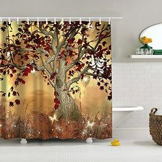 """Uphome Vintage Old Twisted Tree Print Bathroom Shower Curtain - Autumn Color Yellow-brown Custom Waterproof Polyester Fabric Bath Curtain Ideas (72""""W x 78""""H) Uphome http://www.amazon.com/dp/B0177T0Z8I/ref=cm_sw_r_pi_dp_cM91wb04MKX6F"""