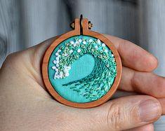tiny embroidery hoop pattern, miniature embroidery pattern, ocean, beach, diy jewelry, diy embroidery, beginner embroidery, hand embroidery