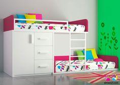 Habitación infantil con litera tipo tren de 2 camas