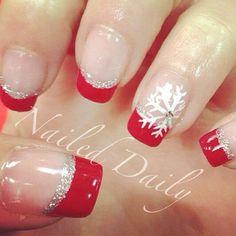 Red and Silver Tipped Christmas Nail Art Designs. Red and Silver Tipped Christmas Nail Art Designs. Frensh Nails, Xmas Nails, Red Nails, Sliver Nails, Christmas Manicure, Silver Glitter, Toenails, Nail Nail, Nail Polish