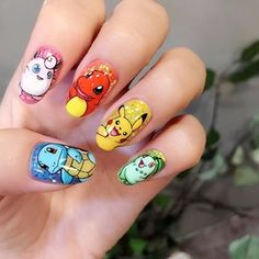 Let your love for Pokémon Go speak for itself with these adorable Pokémon-print talons. Cartoon Nail Designs, Nail Art Designs, Cute Nail Art, Beautiful Nail Art, Pikachu Nails, Sailor Moon Nails, Nagel Tattoo, Super Cute Nails, Nail Time