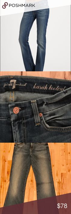 "7 for all mankind karah bootcut jeans 26 BNWT soft, comfy jeans with original tags, still in original plastic wrapping (modeling duplicate pair). Zip fly with top button closure, 5 pocket style, 34"" inseam. Never touched!! 7 For All Mankind Jeans Boot Cut"