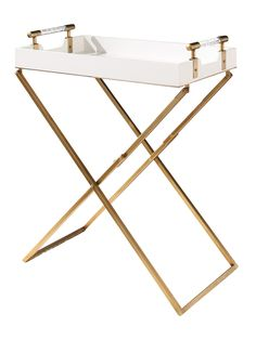 Always be cocktail party-ready with the Abbyson Julianne Iron Tray Table . This Hollywood glam serving table features a matte white engineered wood tray. Butlers Tray Table, Tv Tray Table, Bar Tray, Serving Table, Modern Tv Trays, Tv Tray Makeover, Tv Tray Set, White End Tables, Side Tables