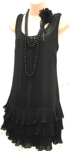 SIZE 10 20'S CHARLESTON DECO FLAPPER GATSBY STYLE FRILLED DRESS ♥ US 6 EU 38 #Atmosphere #20sCHARLESTONDECOFLAPPER #Party
